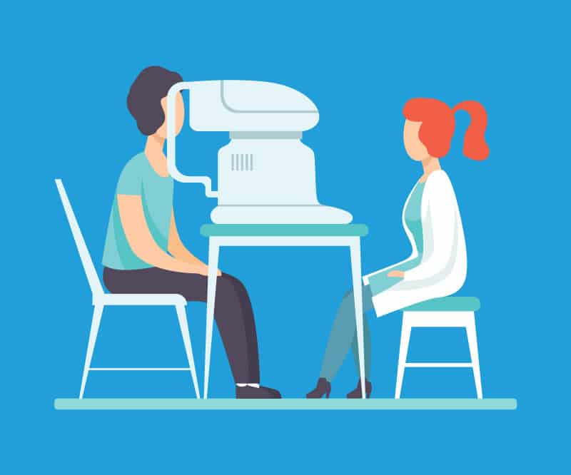 Illustration of a woman getting an eye exam